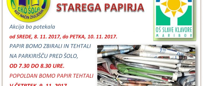 Akcija zbiranja starega papirja v mesecu novembru 2017
